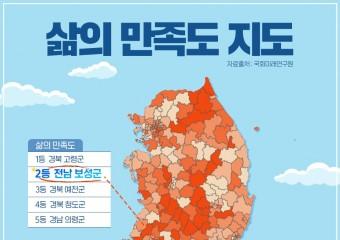 보성군, 대한민국 행복지도 삶의 만족도 부문 전국 2위